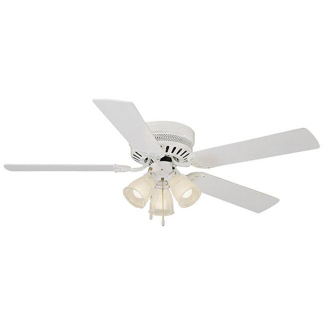 Epiphany Lighting Frosted Gl 3 Light White Hugger Ceiling Fan