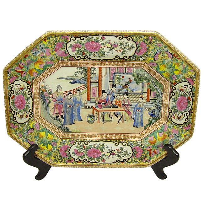 Rose Famille Octagon Porcelain Plaque with Stand