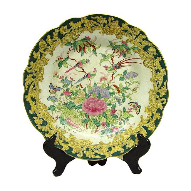 Green Medallion Porcelain Plate with Stand