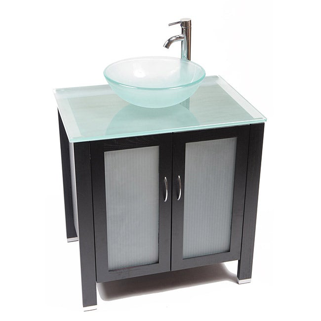 Bionic Waterhouse Wood And Frosted Glass Vanity Set Free Shipping Today Overstock Com 13816539