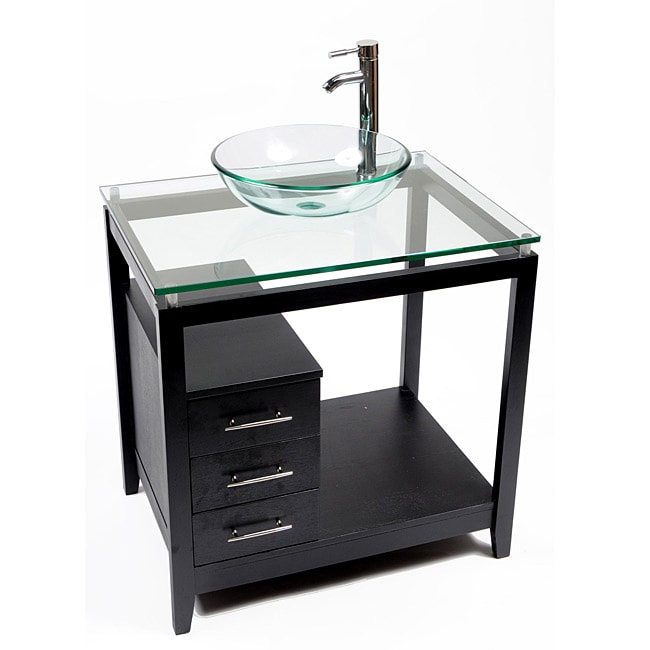 Cappuccino Wood and Clear Glass Single Sink Vanity