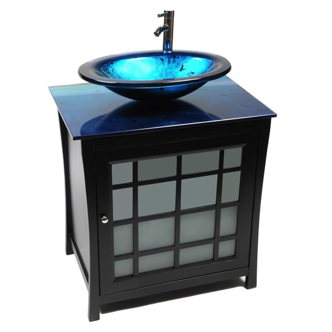Panache wood and ocean blue glass vessel sink vanity free shipping