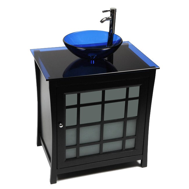 Panache Wood and Cobalt Blue Glass Vessel Sink Vanity - Free Shipping ...