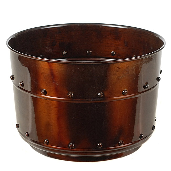 Metal 12-inch Riveted Planters (Set of 2)