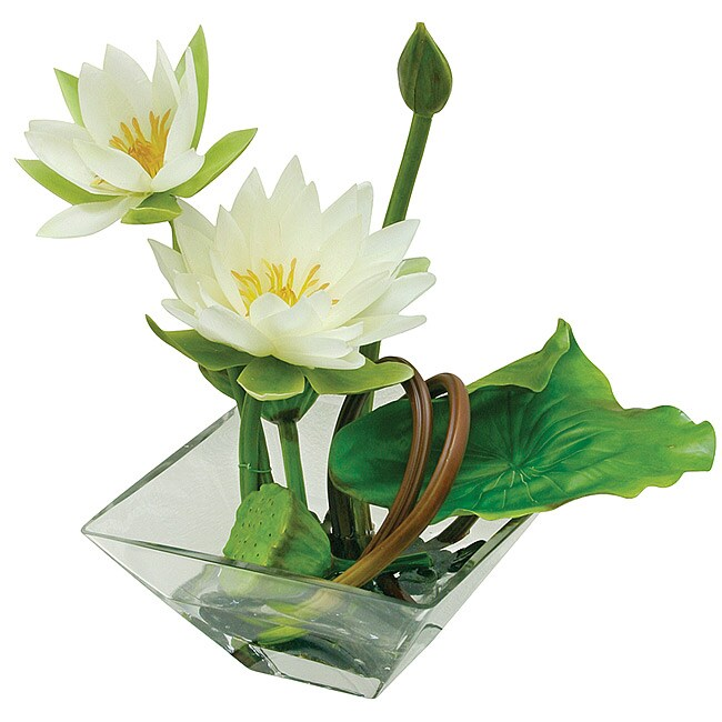 Shop Faux Lotus Flower In Square Bowl Free Shipping Today