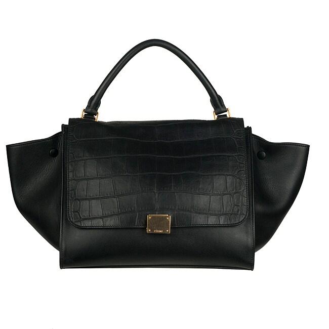Celine Black Leather Trapeze Shoulder Bag