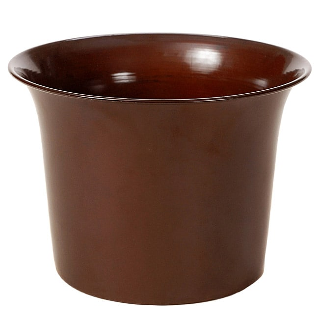 Shiny Caramel Metal 12-inch Flared Planters (Set of 2)