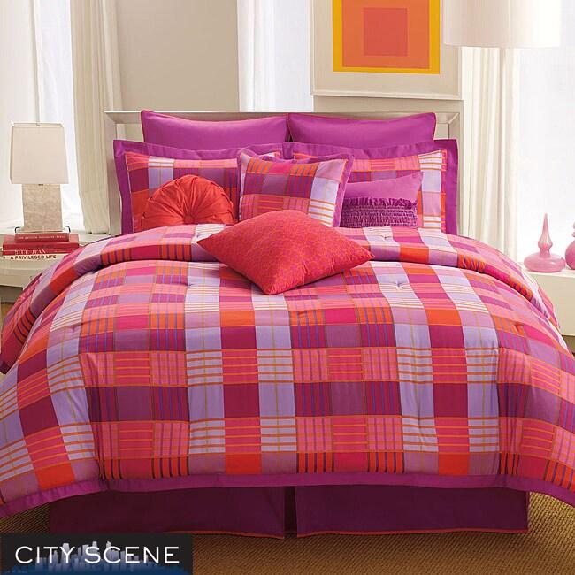 City Scene Brooklyn Plaid Pink Twin/ Twin XL 3-piece Comforter Set