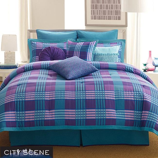 City Scene Brooklyn Plaid Turquoise Queen-size 4-piece Comforter Set