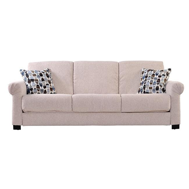 Portfolio Convert-a-Couch Cream Chenille Rolled Arm Futon Sofa Sleeper