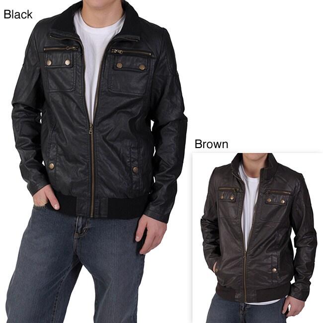 Ci Sono by Adi Men's Zipper Detail Pleather Jacket