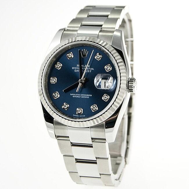 Rolex Men's Datejust Diamond Stainless Steel Watch