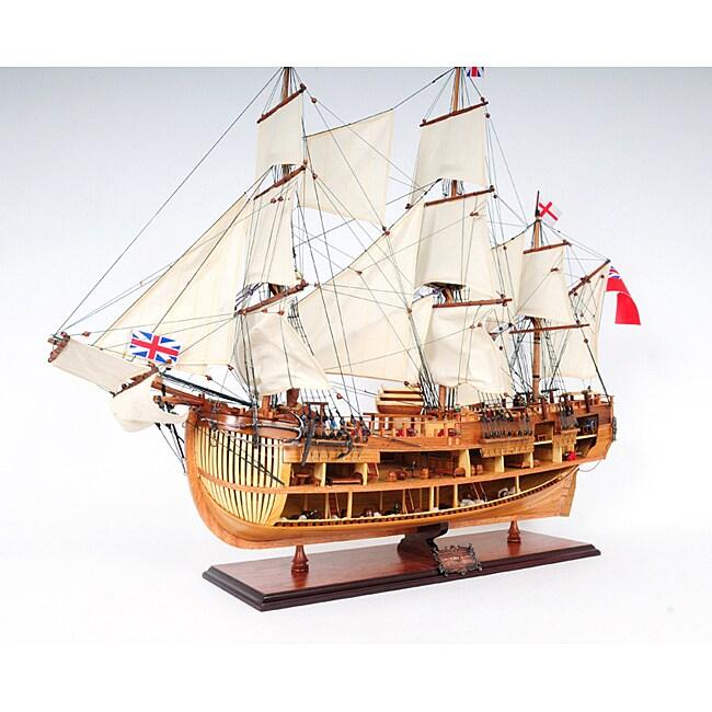 Old Modern Handicrafts 'HMS Endeavour' Open-Hull Model Ship