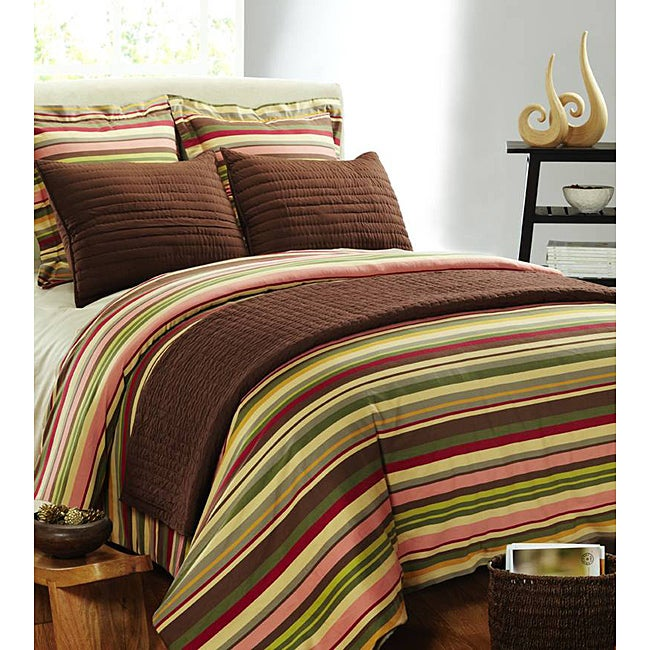 Lucas Stripe Cotton Satin Twin-size Duvet Cover Set