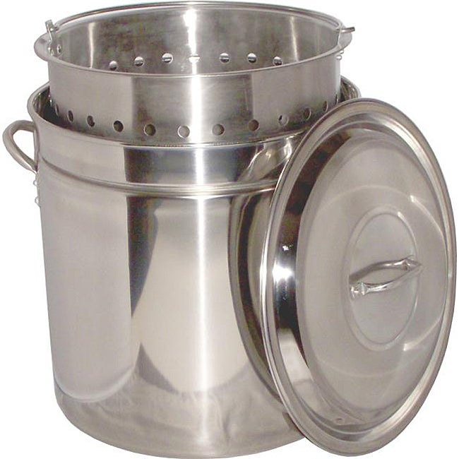 King Kooker 102-qt Ridged Stainless Steel Pot with Steam Basket and Lid