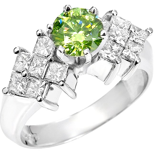 14k White Gold 1 5/8 ct TDW Green and White Diamond Ring (SI2, VS2)