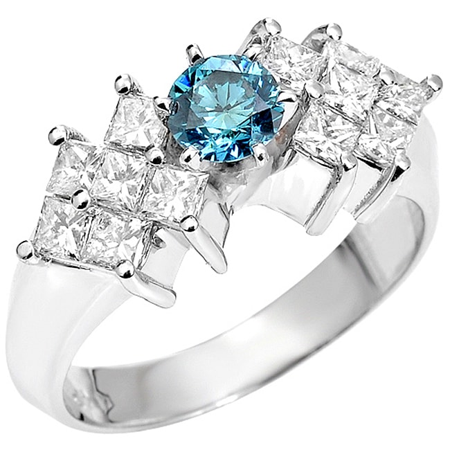 14k White Gold 1 1/4ct TDW Blue and White Diamond Ring (SI2)