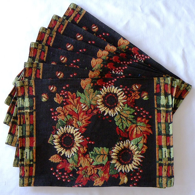 Tapestry Harvest Wreath Place Mats (Set of 6)