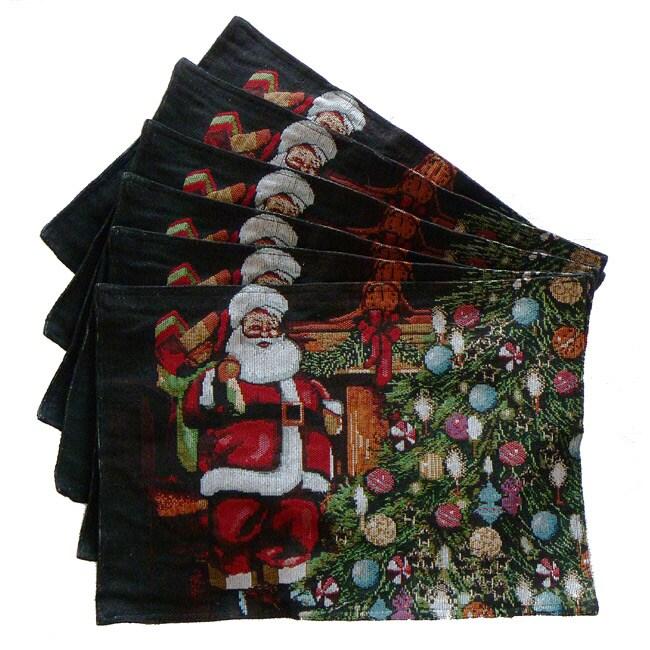 Tapestry Santa's Gift Place Mats (Set of 6)
