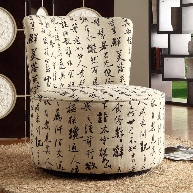 Moda Round Linen Swivel Chair - Thumbnail 0