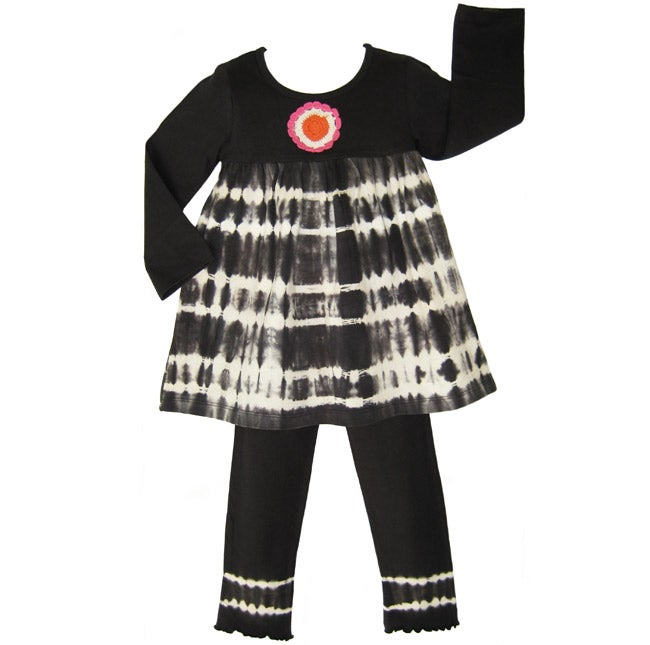 AnnLoren Girl's Tie-dye Baby Doll 2-piece Top and Pant Set