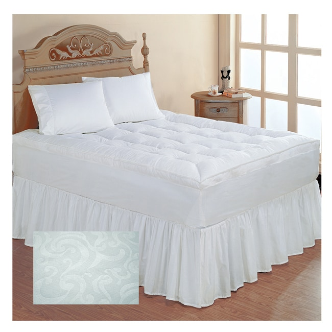 Embossed Scroll Microfiber Feather Top Queen King Cal