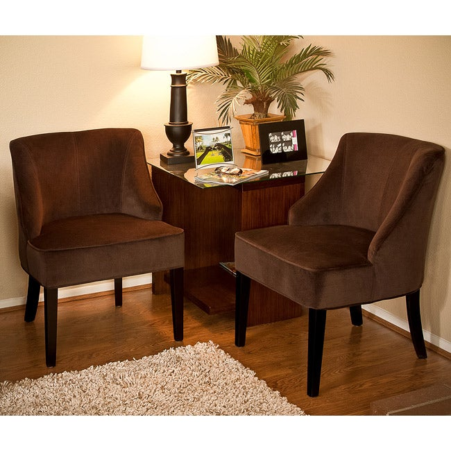 Louise Brown Microfiber Accent Chairs Set Of 2 Free