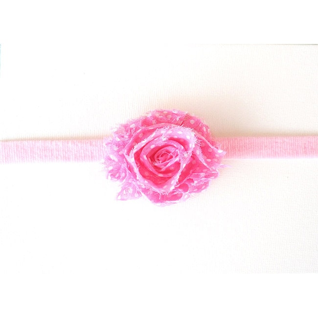 Pink Shabby Chic Flower Headband