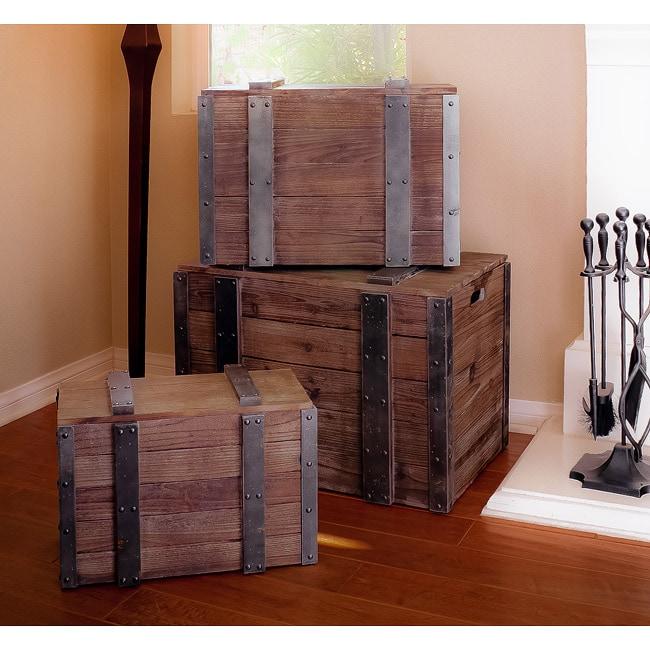 Distressed Wood Trunks (Set of 3)