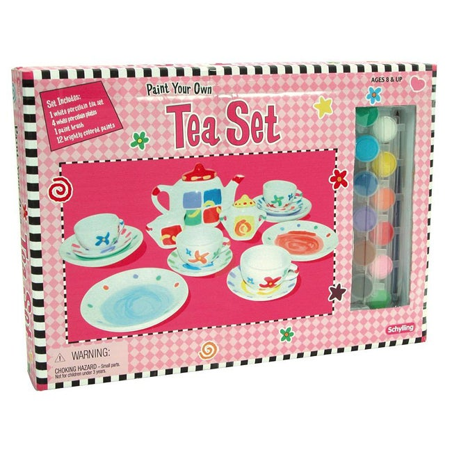 Schylling Paint Your Own 17-piece Toy Tea Set