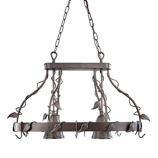 Shop Leaves 2-light Antique Bronze Finish Island Pot Rack ...