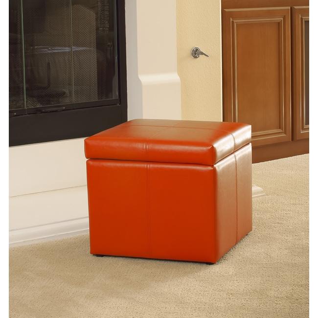 Square Orange Cube Storage Ottoman By Christopher Knight