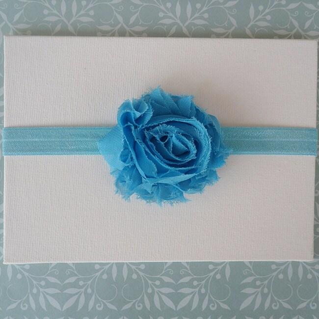 Turquoise Shabby Chic Flower Headband