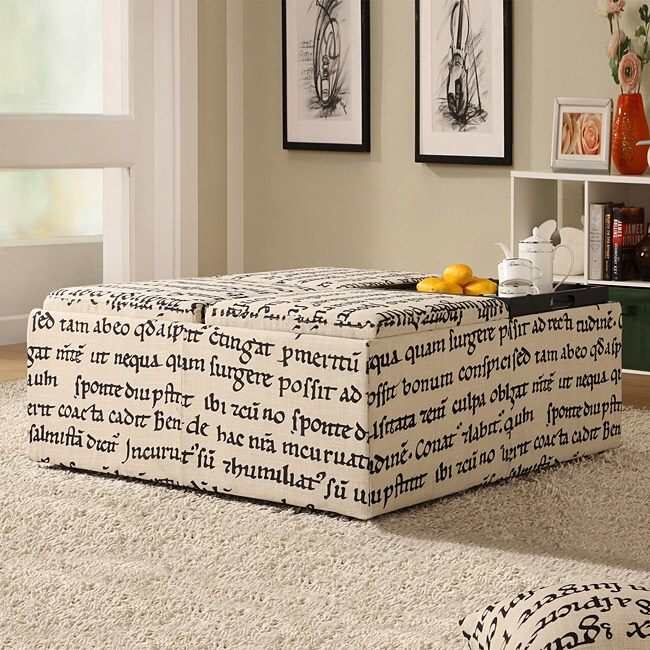 Decor Storage Latin Script Linen Ottoman