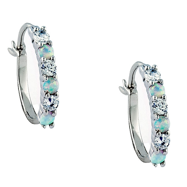 Gioelli Sterling Silver Created Opal and Cubic Zirconia Hoop Earrings