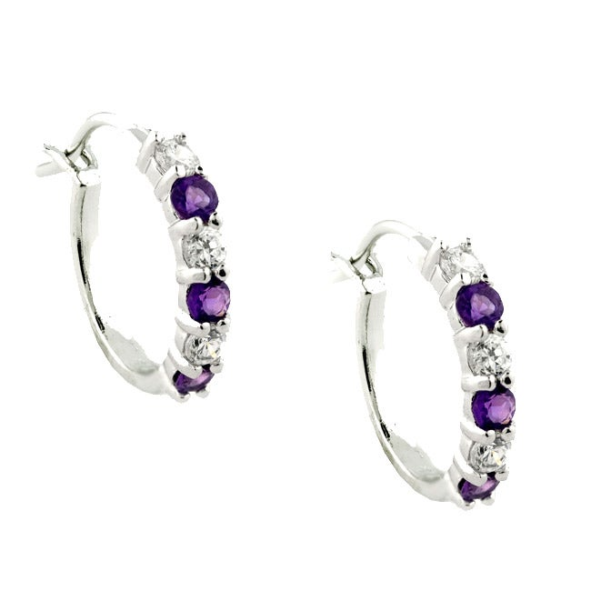 Gioelli Sterling Silver Amethyst and Cubic Zirconia Hoop Earrings