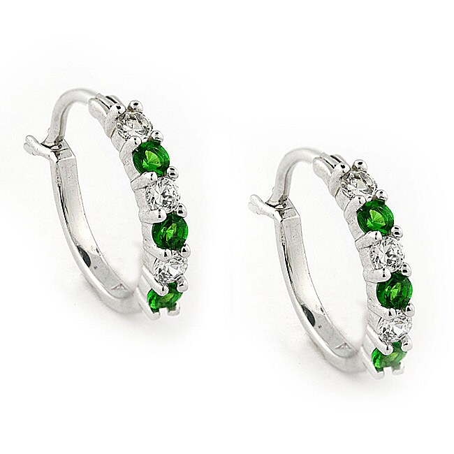 Gioelli Sterling Silver Created Emerald and Cubic Zirconia Hoop Earrings