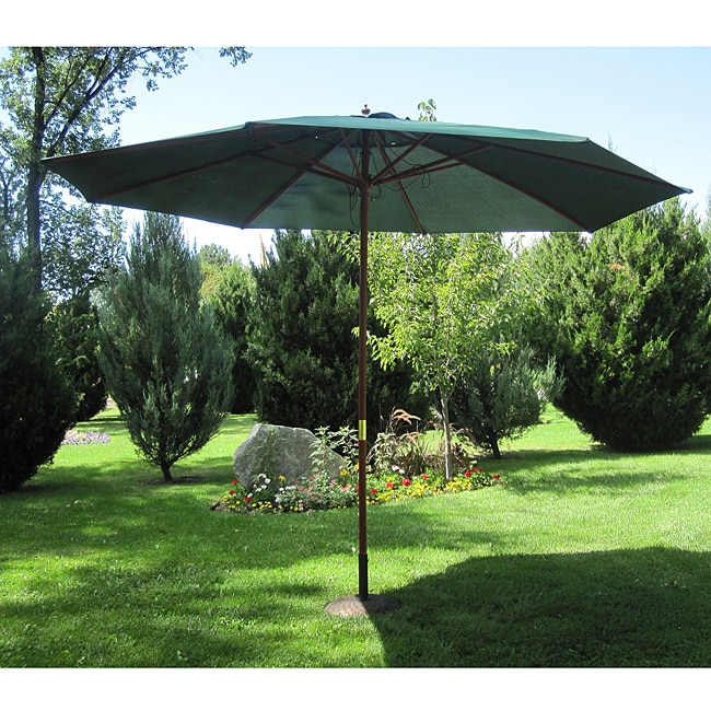 Shop Hunter Green Wood 13 Ft Patio Outdoor Umbrella Free Shipping