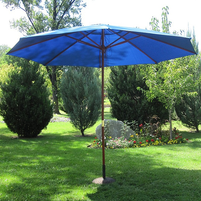 Pacific Blue Wood 13 Ft Patio Outdoor Umbrella