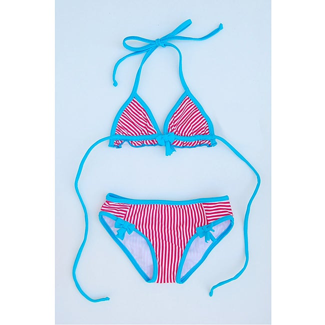 Azul Swimwear Girl's Red Stripe Triangle Bikini