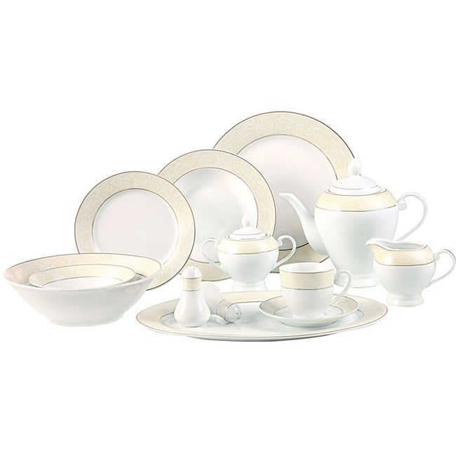 Lorenzo Silver and Pearl 57-piece Porcelain Dinnerware Set