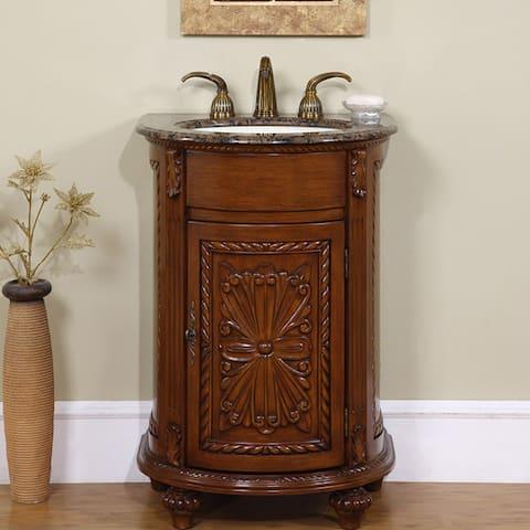 Silkroad Exclusive Single Sink 24-inch Granite Top Vanity Cabinet