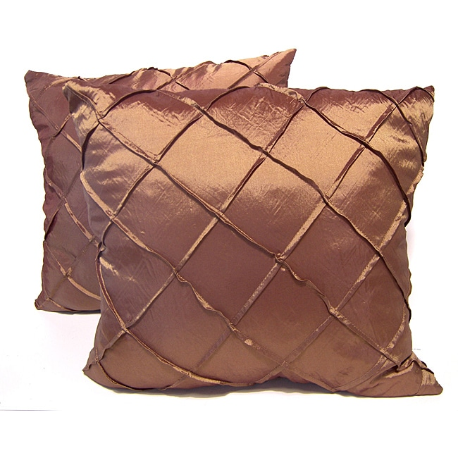 Dior Rust Stitched Diamond Decorative Pillows (Set of 2)