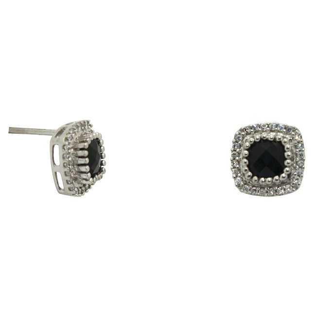 Gioelli Sterling Silver Black Onyx and Cubic Zirconia Earrings