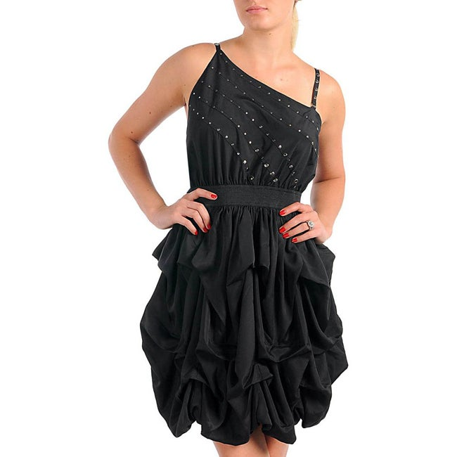 Stanzino Women's Plus Size Black Ruffle Stud-embellished Dress