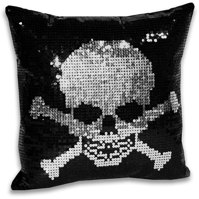 Sequin Skull and Crossbone Decorative Pillow