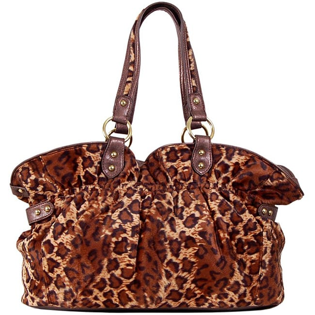 483ae21b91bb Shop Candice  Furry  Bronze Animal Print Tote Bag - Free Shipping On Orders  Over  45 - Overstock.com - 6209556