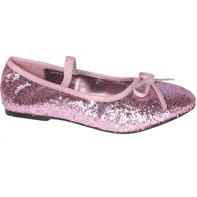eb13bc6600 Pleaser Girl's Pink Glitter Bow-tie Ballet Flats
