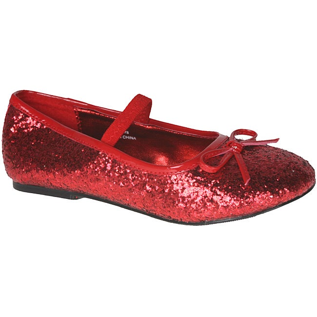 8c05a011f7 Pleaser Girl's Red Glitter Bow-tie Ballet Flats