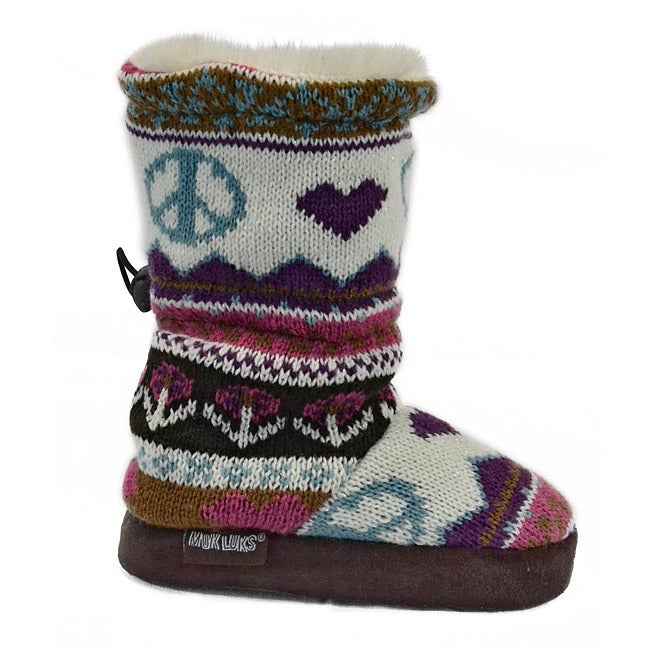 Muk Luks Girl's Peace Sign Faux Fur Toggle Boots